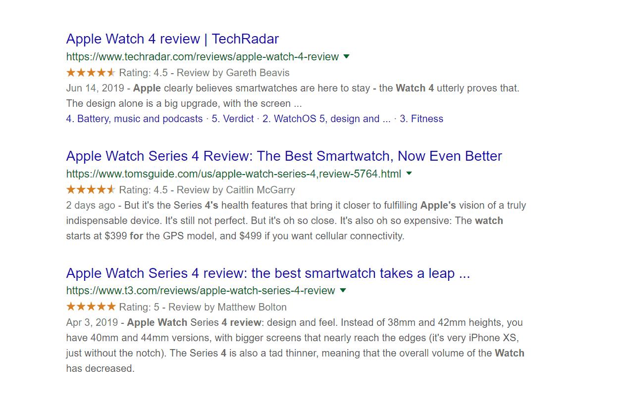 Google SERP עם ביקורות
