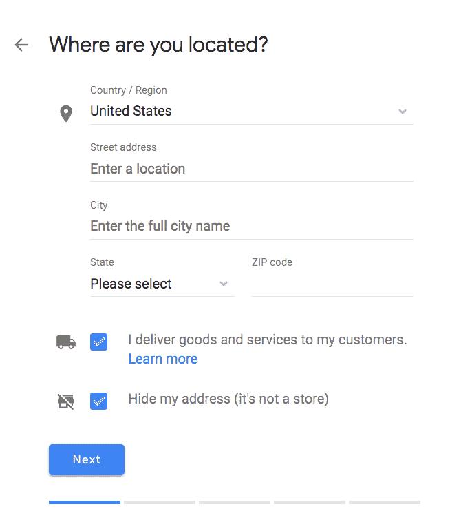 מיקום גוגל לעסק שלי