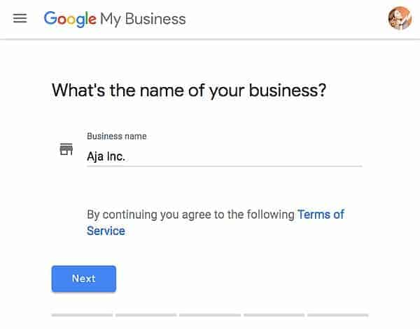 גוגל לעסק שלי - שם העסק