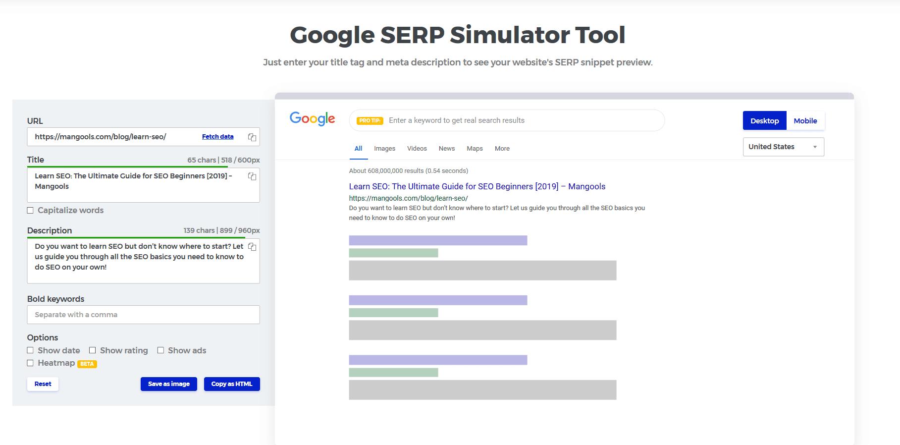 מדריך קידום אתרים כלי סימולטור SERP