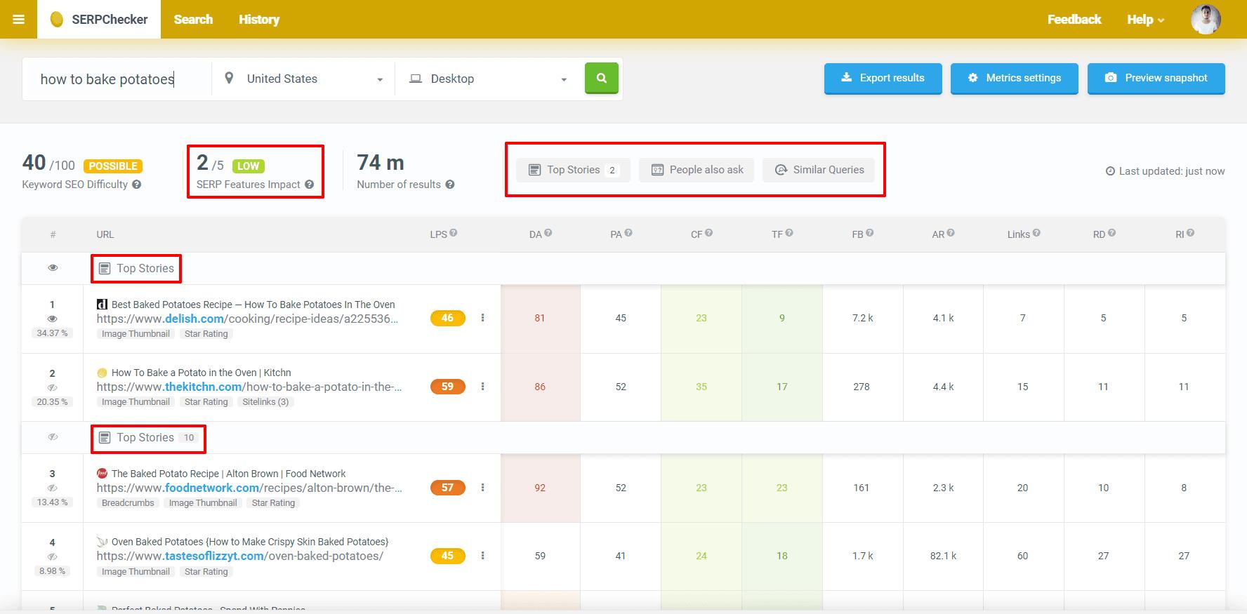 מדריך קידום אתרים נתח תכונות SERP