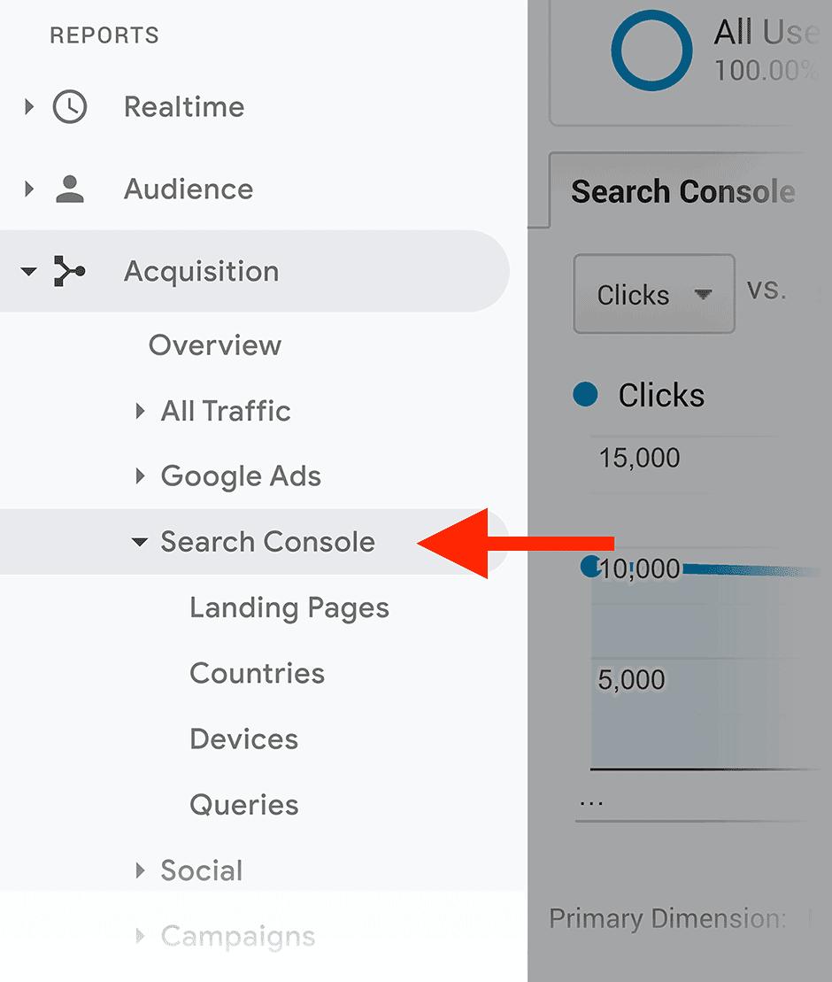 גוגל אנליטיקס - רכישה - קונסולת חיפוש