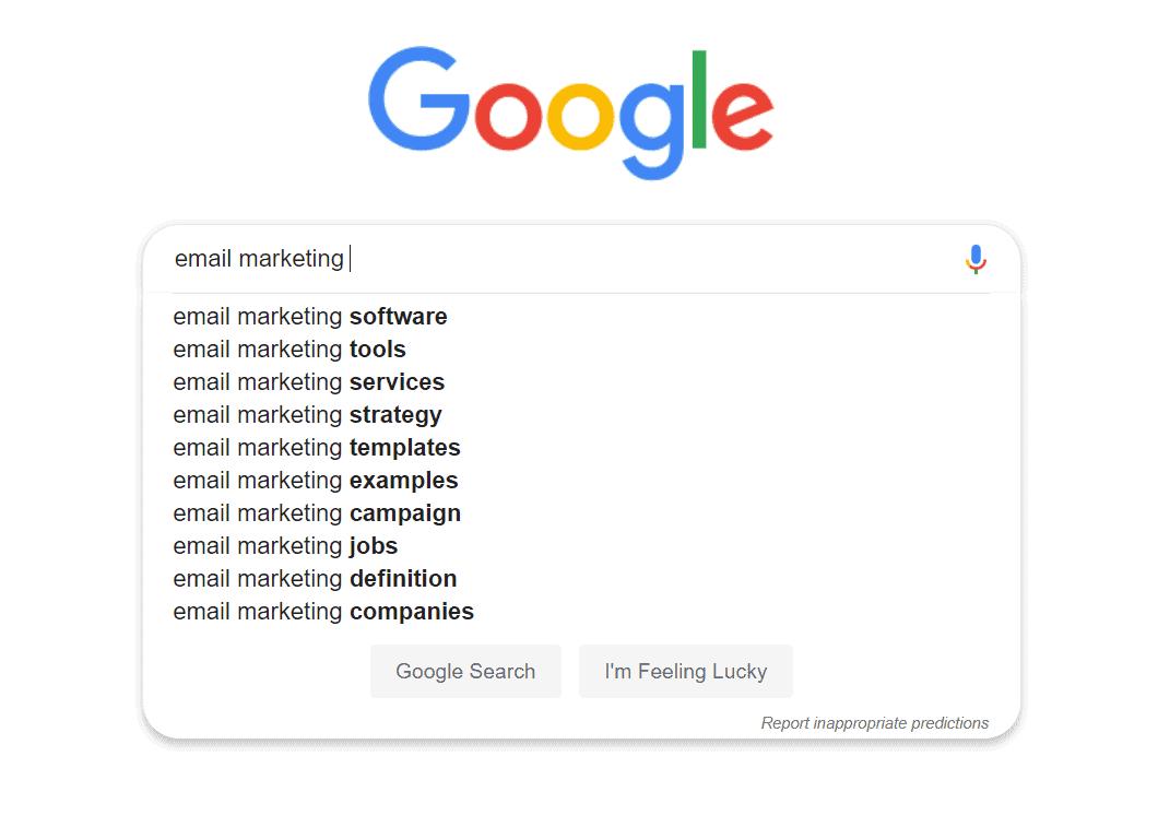 השלמה אוטומטית של Google