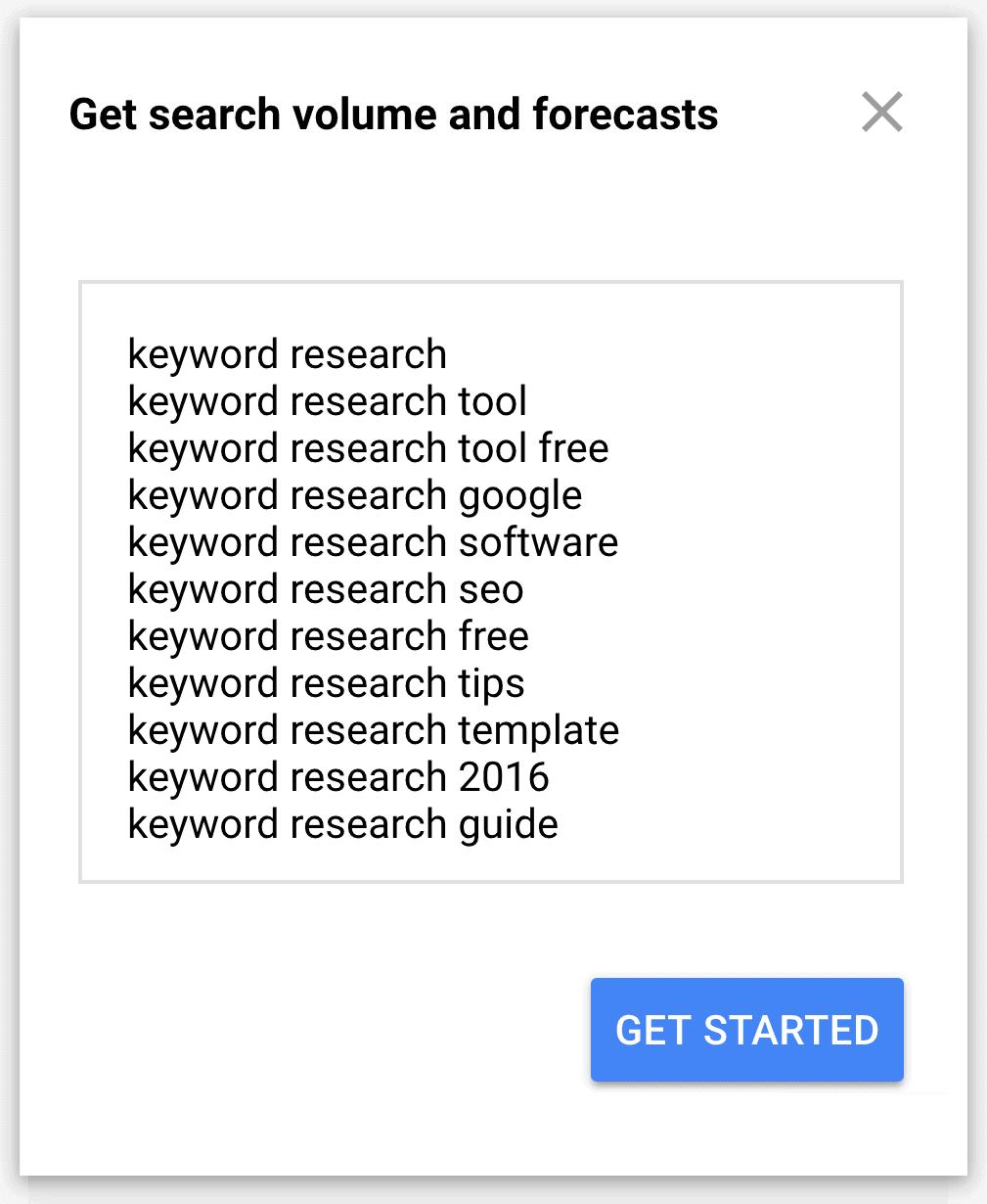 מתכנן מילות המפתח של גוגל - נפח ותחזיות
