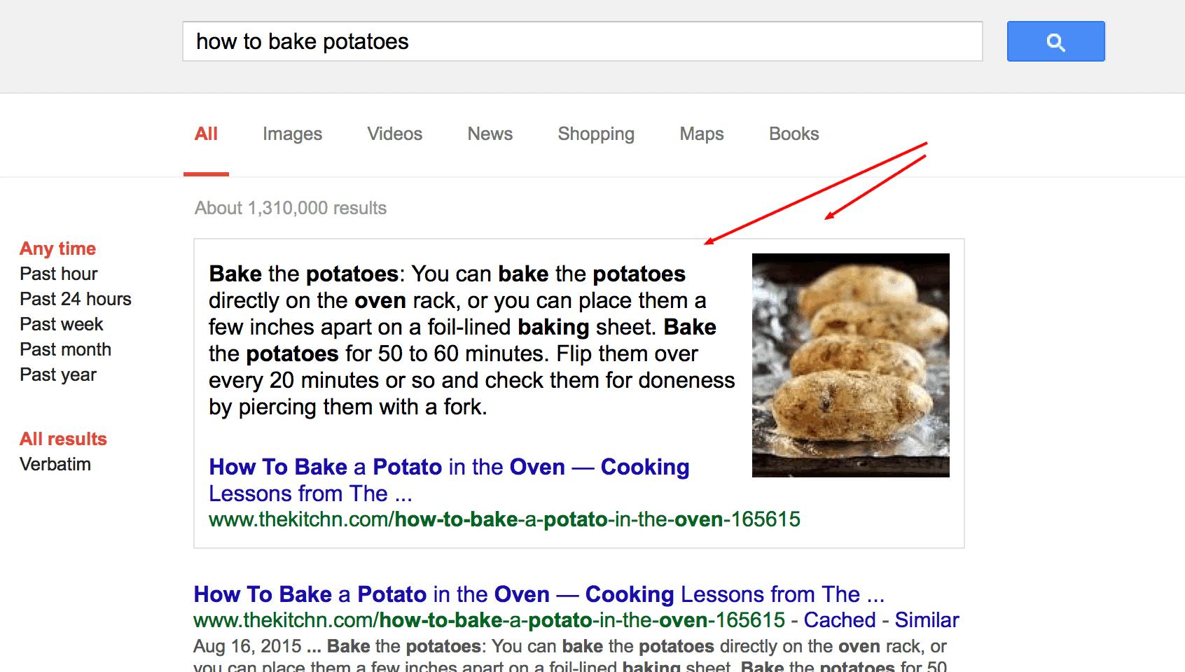 מדריך קידום אתרים דוגמא של קטע גוגל הציג גוגל