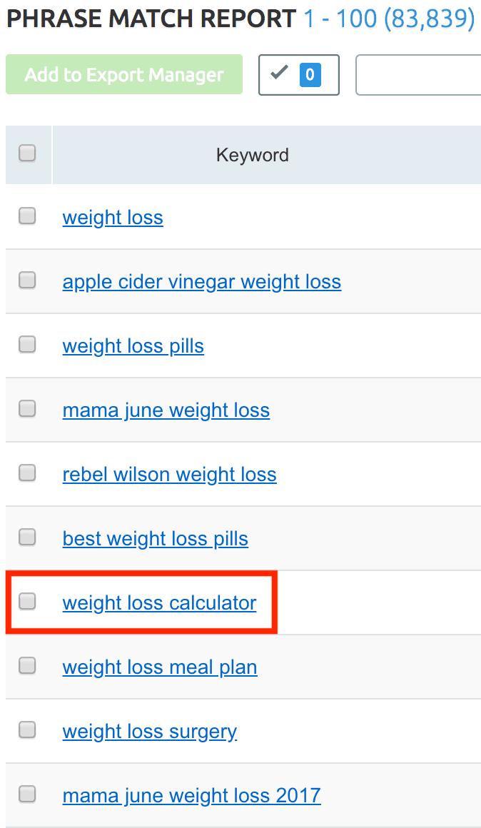 """SEMRush - דוח התאמה לביטויים - דוגמה ל""""ירידה במשקל"""""""