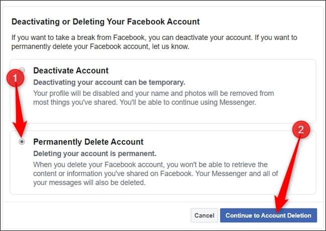 """בחר """"מחק חשבון לצמיתות"""" ולחץ על """"המשך למחיקת חשבון"""" כדי להמשיך. מחיקת חשבון פייסבוק איך מוחקים חשבון פייסבוק"""