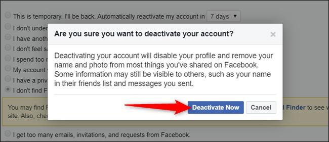 """לחץ על """"בטל כעת"""" לאחר שקראת את האזהרה. מחיקת פייסבוק לצמיתות"""
