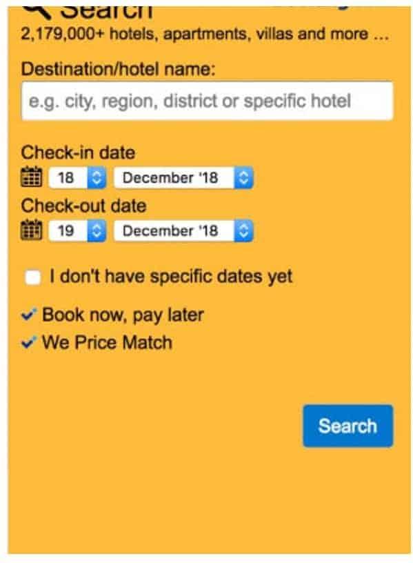 תיבת חיפוש booking.com